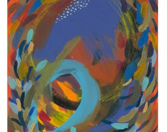 "Small Abstract Painting on Paper: ""Summer Carnival VI"""
