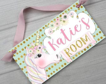 Pink Gold Mint Unicorn Girls Bedroom Personalized Wall Art DOOR SIGN Ds0468