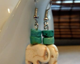 Elephant Totem and Turquoise Earrings