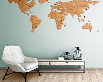 Wooden world map Etsy