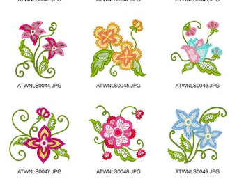 Lace-Flowers. ( 12 Machine Embroidery Designs from ATW )