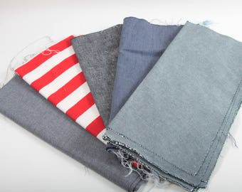 Americana, Blue Jeans, Vintage Quilt Blocks, Grey Tones, Solid Colors, Dark,  Red White Stripes, Fabric, Textile, Quilting, Sewing ~ 170219