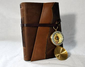 Medium Golden Oak Leather Journal with Compass