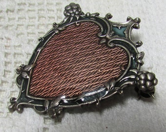 vintage sweet Catherine Popesco copper and enamel heart valentine pin brooch wedding bridal