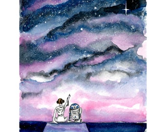 Princess Leia tribute painting, cute Star Wars artwork, Leia Organa and R2D2, Star Wars print, pink and blue watercolor,