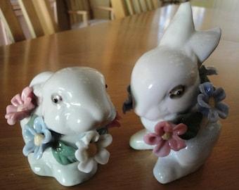 Pair of Floral Bunnies