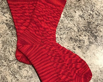 Hand Knit Wool Socks, Red Rose