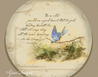 Bird on Branch Bluebird Victor Hugo Poem 10 inch Art Plate 100% Made in America