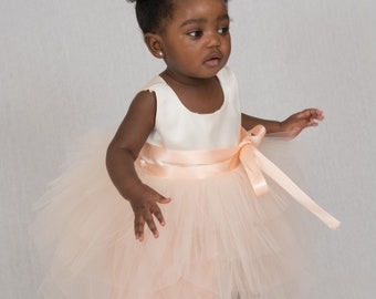 Zaya tulle layered dress, ivory soft satin top, peach ribbon