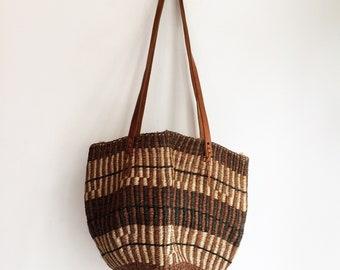 Vintage raffia sisal bohemian hippie market bag basket shopper