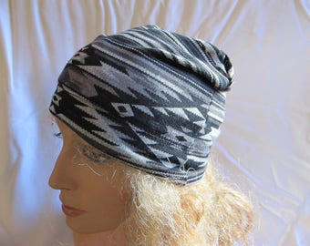 Sale - Black and Gray Print Slouchy Beanie, Slouchy Hat, Jersey Beanie, Summer Beanie, Slouch Beanie
