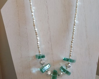 Silver and Green Glass Necklace