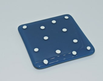 Fused glass coaster in blue with white polkadots