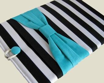 Macbook Air Case, Macbook Air Sleeve, 13 inch Macbook Air Cover, 13 inch Macbook Air Case, Laptop Sleeve, Black Stripes w/ Blue Bow