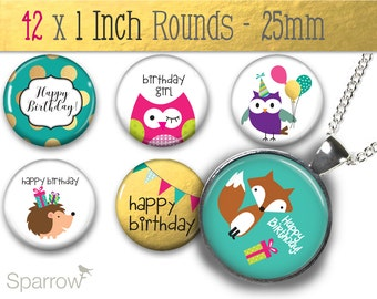 Birthday Critters - (1x1) One Inch (25mm) Round Pendant Images - Collage Sheet - Digital Download - Bottle Cap Images - Buy 2 Get 1 Free