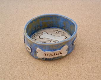 Dog food bowl with bones - Made to order dish personalized with name - Custom made ceramic pet dish - Handbuilt stoneware dog bowl