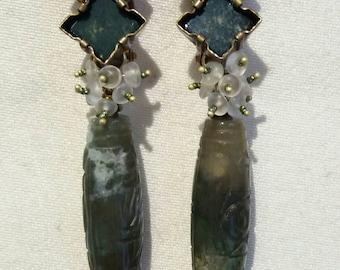 LES MÉDIÉVALES boucles d'oreilles clips en pierres naturelles
