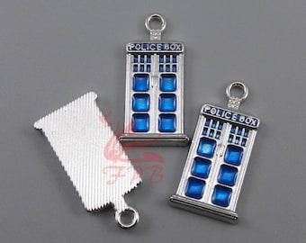 2 Doctor Who Tardis Charms 27mm Wholesale Blue Enamel Police Box Pendants SC0032009