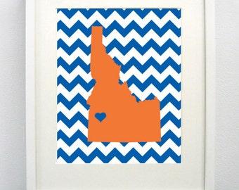Boise, Idaho State Giclée Map Art Print  - 8x10 - Graduation Gift Idea - Dorm Decor