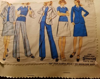 Vintage 70's Simplicity Misses sz 12 (bust 34) Jacket, Top, Skirt and Pants Pattern 5527
