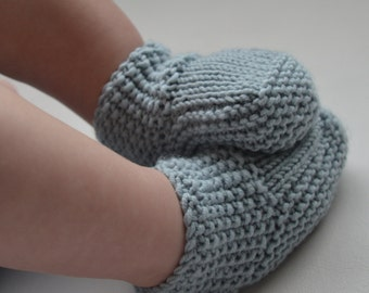 Hand Knitted, Baby Socks, Booties, Blue Baby Socks, Newborn To 12 Months,