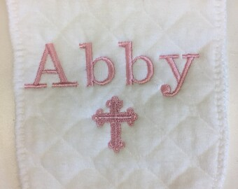 Christian Baby, Embroidered, Burp Cloth, Monogram Name, Monogrammed Gift, Custom Boutique, Cross, Christening, Baby Dedication, Personalized