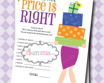 Price is Right Baby Shower Game Boy Girl, The Price is Right Baby Shower Game, Price is Right Game Printable Gender Neutral Baby Shower Game