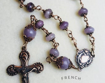 French Victorian Pocket Rosary, Tenner, Wire Wrapped, Bronze, 8 mm Lilac, Christian catholic jewelry