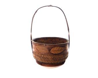 Antique Hand Woven Basket With Leaf Designs - Beautiful Rare Ornate Vintage Basket - Native American Basket - Primitive Basket
