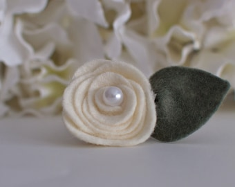 Ivory Felt Mini Rose- can only be purchased with a frame from Kissel Ave