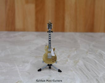 Handmade miniature guitar pendant necklace