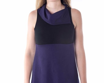 Tunic Mini Dress- Cowl Neck- Sleeveless- French Terry, soy, organic cotton,