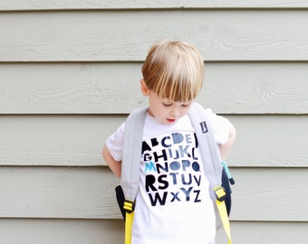 Trendy kids clothes, toddler boy clothes, hipster baby, boy clothes, alphabet tee, back to school shirt, ABC tee, personalized tee, shirt