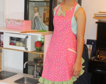 Retro cute womens aprons with floral print and polka dots ruffles.