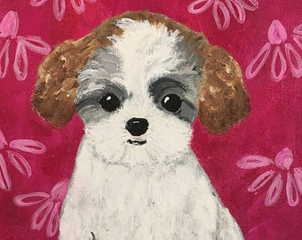 Puppy Painting for Girl's Room, Girl's Nursery Decor, Teddy Bear Puppy Original Painting, Bichon Shih-Tzu Painting, Pink, Magenta, White Dog