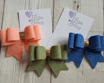 Felt hair bow, felt bow, hair accessories, wool felt hair bow, wool felt, hair bow, wool felt bows, girls hair bow, felt hairbow