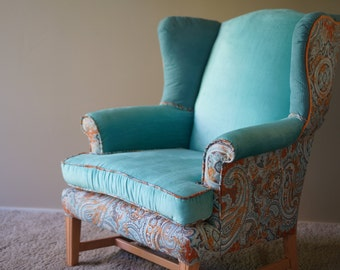 Upholstered Aqua Wingback Chair - SOLD