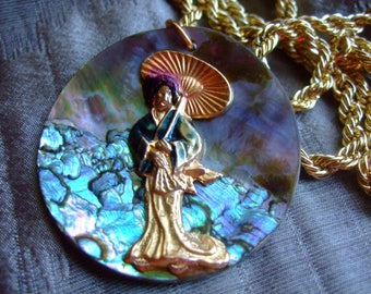 Vintage iridescent shell pendant and Asian Lady with umbrella + chain