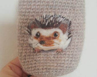 Felted hedgehog can cozy