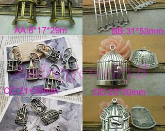 20pcs Antique Silver / Antique Bronze 3D Birdcage Charm Pendant Jewelry pendants, Fittings