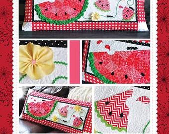Watermelon Pillow Pattern, Slice of Summer Bench Pillow KD175 Kimberbell, Summer Quilted Pillow, Applique Pillow