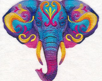 VIBRANT ELEPHANT In WATERCOLOR - Machine Embroidered Quilt Blocks (AzEB)