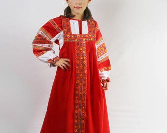 SALE -20%, ready to ship! Russian traditional dress Dunyasha for girls, Historical costume, Slavic dress, Sarafan, Russian gitl costume