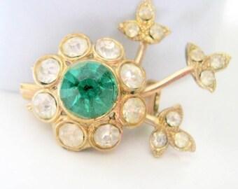 Flower Brooch, Vintage Rhinestone Flower Brooch, Fashion Jewelry, Pin Brooch