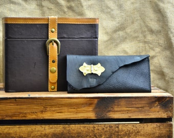 Large Size Leather Wallet Clutch Checkbook Pocketbook Card Case - Raw Edge Leather Distressed Unisex Wallet