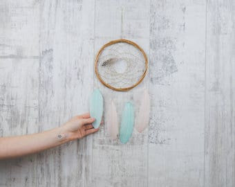Wall Hanging Dream Catcher - Blush Pink and Mint Boho Dream Catcher Wall Hanging with 20 colour choices!