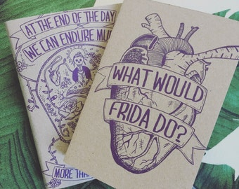 FRIDA KAHLO journal, Quote, what would frida do?, NOTEBOOK A6, Sketchbook, notepads, typography