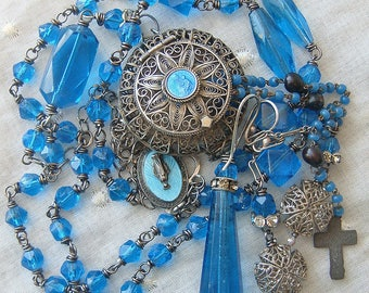 Religious Assemblage Necklace Vintage Antique Teal Blue Bohemian Faceted Glass Reconstructed Repurposed  Filigree Rosary Case