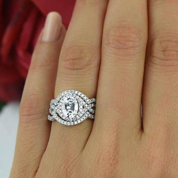 2 ctw Oval Twisted Halo Ring 3 Band Wedding Set Engagement