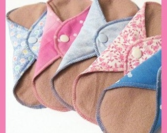 Cloth Pads / Mama Pads SET OF 5 ..  3 regulars and 2 liners 8 Inch  FREE Shipping
